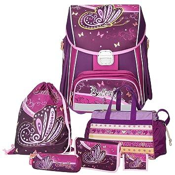 d8263d83a1dbe Spirit Purple BUTTERFLY - Schmetterling - Leicht-Schulranzen-Set Mädchen  1.Klasse 6teilig