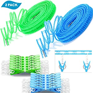 Foshine Clotheslines 2 Pack Clothesline Clothes with 24 pcs Clips Drying Rope Portable Windproof Travel Clothesline for Indoor Outdoor Laundry Perfect Windproof Clothes Line, Hanger for Camping Home