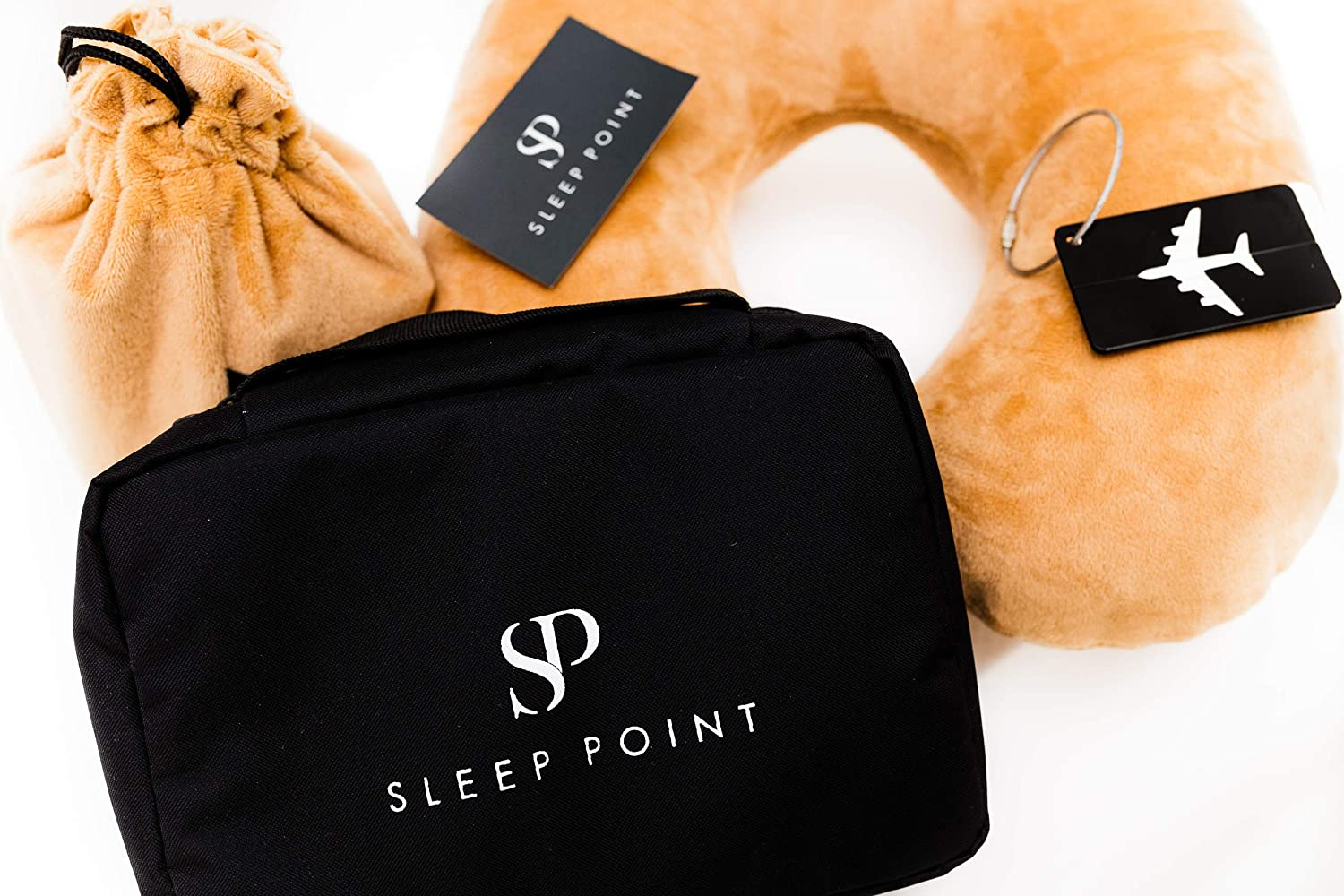 SLEEP POINT Airplane Travel Kit Travel Toiletry Bag Neck Pillow Sleeping Mask Traveling Set for Women Men Hanging Cosmetic Bag Travel Comfort Bundle Luggage Tag Included