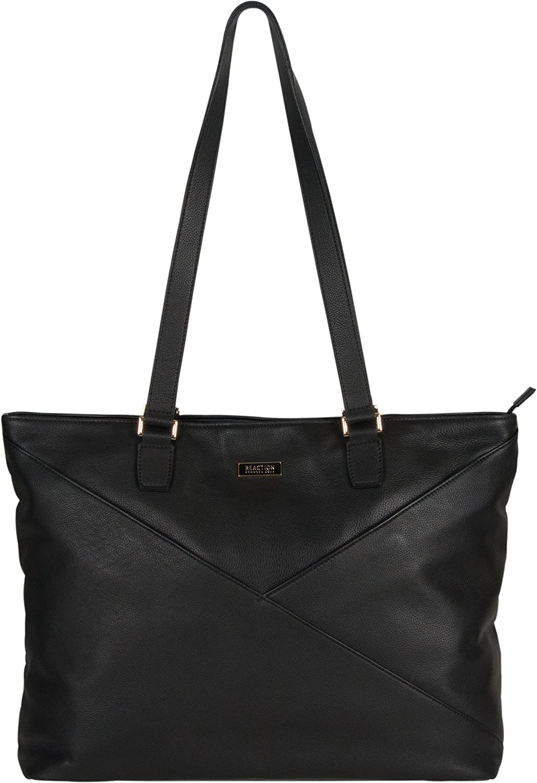 "Kenneth Cole Reaction Women's East Bay Babe 15"" Laptop & Tablet RFID Business Travel Messenger Computer Bag, Black Leather Tote, Laptop"