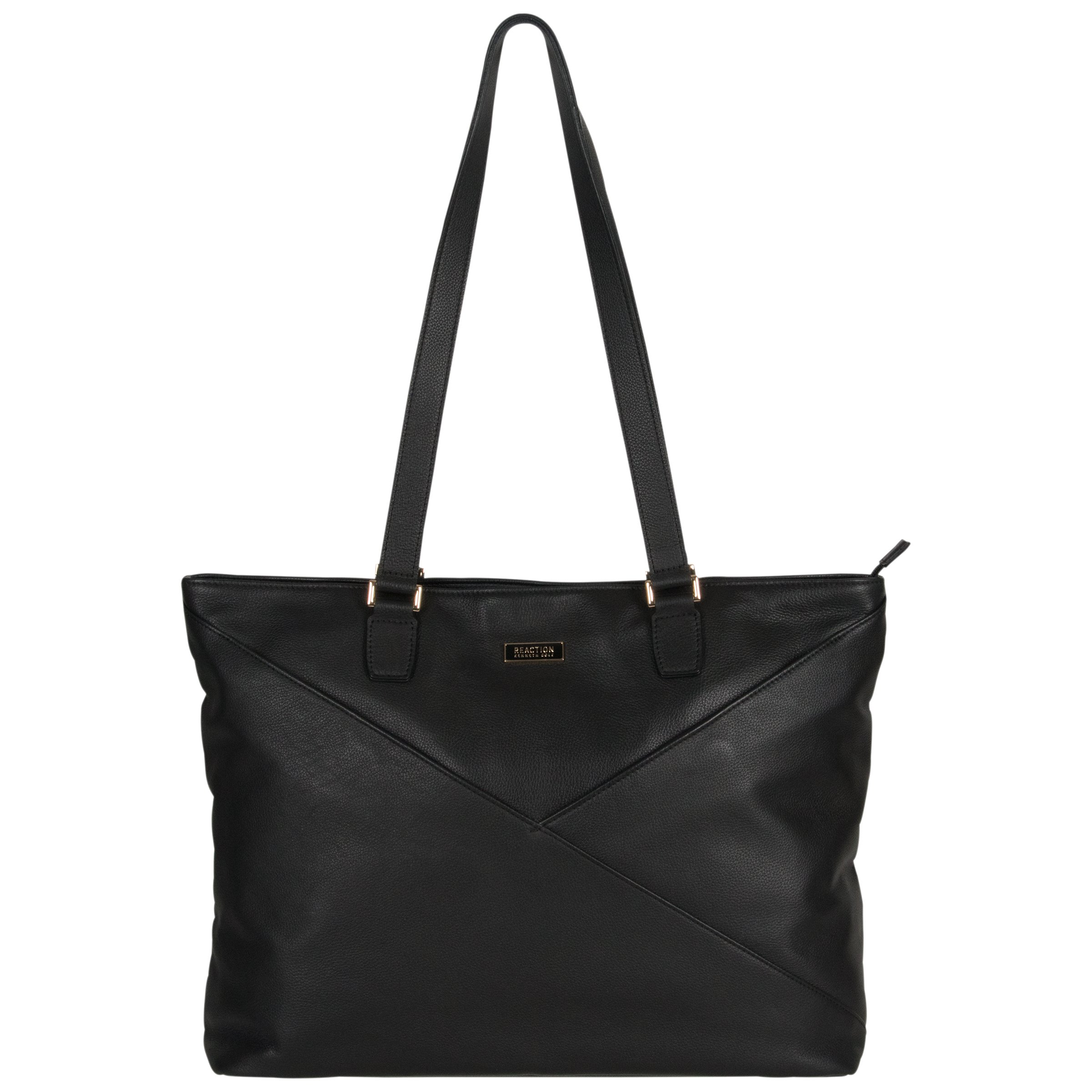 Kenneth Cole Reaction Women's Leather Top Zip 15'' Computer Business (Rfid) Laptop Tote, Black, One Size