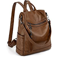 UTO Women Anti-Theft Backpack Purse PU Washed Leather Ladies Tassels Convertible Rucksack Shoulder Bag CA