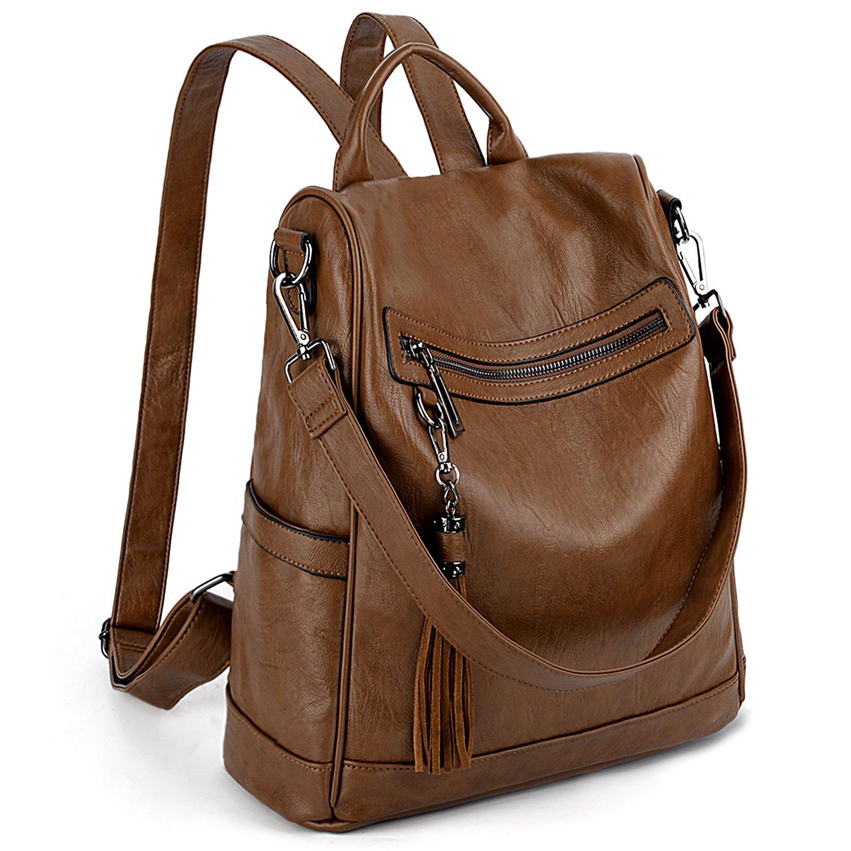 UTO Women Backpack Purse PU Washed Leather Ladies Tassels Convertible Rucksack Shoulder Bag Brown