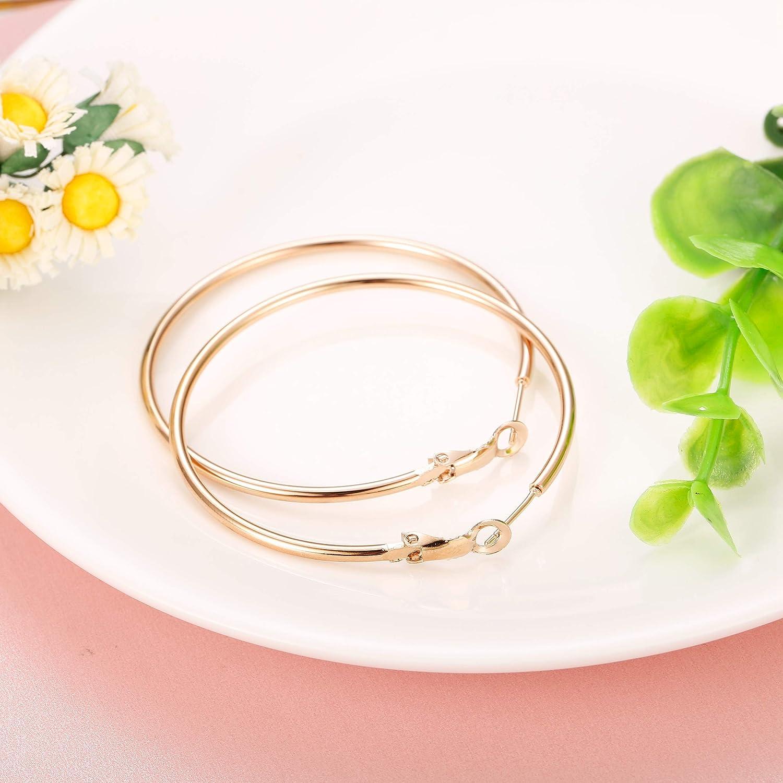 Finrezio 2 Pairs Stainless Steel Hoop Earrings Women Girls Gold Silver Rose Gold Tone 40mm-60mm