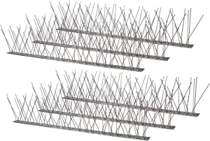 Micnaron 2020 Bird Spikes Strips with Stainless Steel Base and Spikes 10 Feet, Upgrade Bird Blinder, Bird Off Device for Deterring Smaller Birds Like Sparrows and wrens, Squirrels on Fence, Roof