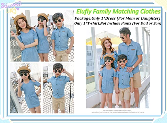 d1ea10b5 Elufly Mommy & Me Denim Dress Dad & Baby T-Shirt Family Matching Outfits  (Mom A, XL): Amazon.ca: Clothing & Accessories