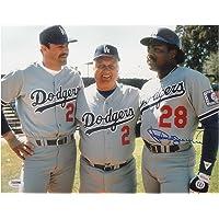 Pedro Guerrero Signed Autographed 11x14 Los Angeles Dodgers Lasorda Gibson PSA photo