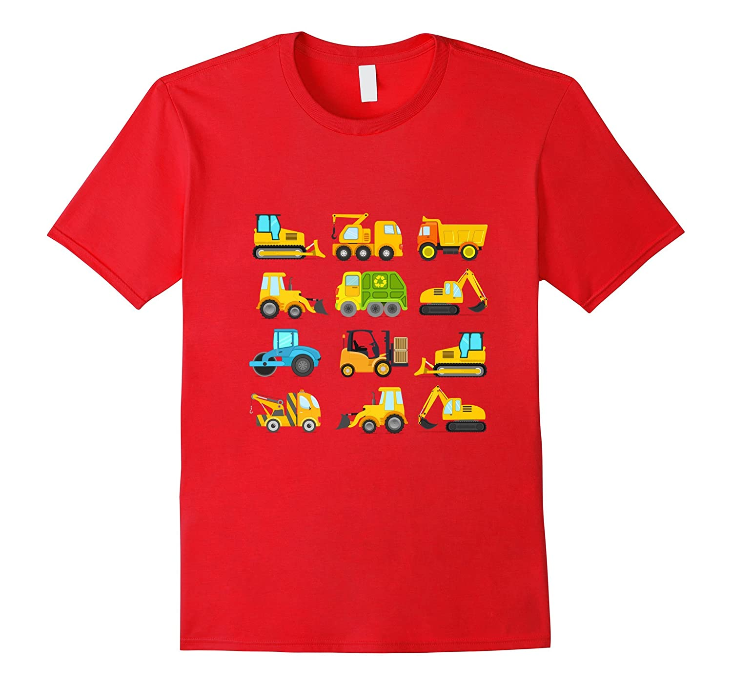 Boys Trucks and Diggers Short Sleeved T-shirt for Toddlers-Vaci
