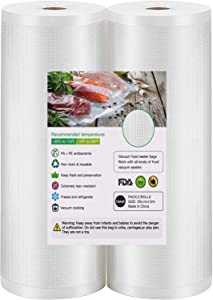 Vacuum Sealer Bags 2 Rolls 30cmx5m Fit for Food Saver, Seal a Meal, Gamesaver, Weston BPA Free, Heavy Duty, Puncture Prevention, Great for vac Storage, Meal Prep or Sous Vide
