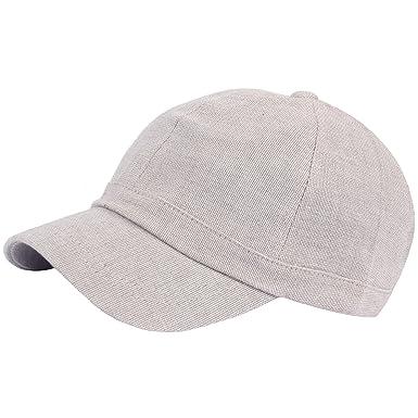 1547ae3edc1 RaOn B382 Ball Cap Plain Empty Summer Cool Short Bill Design Baseball Hat  Truckers (Beige