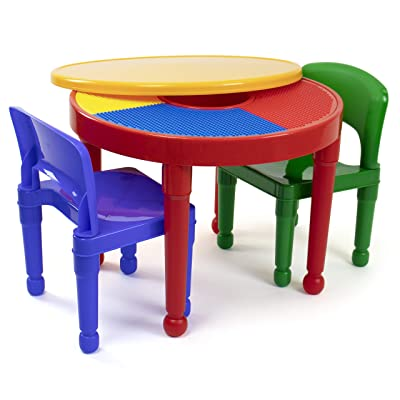 Tot Tutors Kids 2-in-1 Plastic Building Blocks-Compatible Activity Table and 2 Chairs Set, Round, Primary Colors: Kitchen & Dining