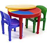 Humble Crew, Red/Green/Blue Kids 2-in-1 Plastic Building Blocks-Compatible Activity Table and 2 Chairs Set, Round, Primary Co