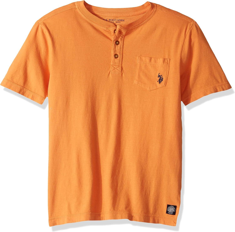 Polo Assn Boys Short Sleeve Pigment Dye Henley Shirt U.S
