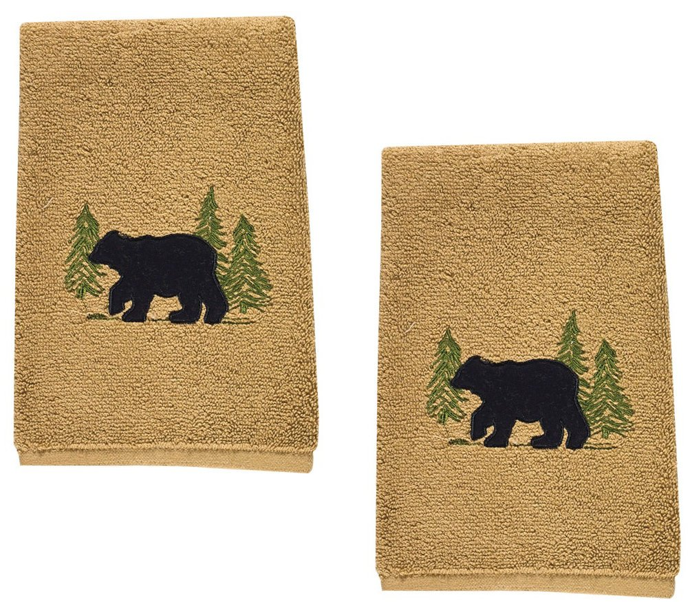 Black Bear Cotton Terry Applique Embroidered Fingertip Towel - Set of 2 by Park Designs