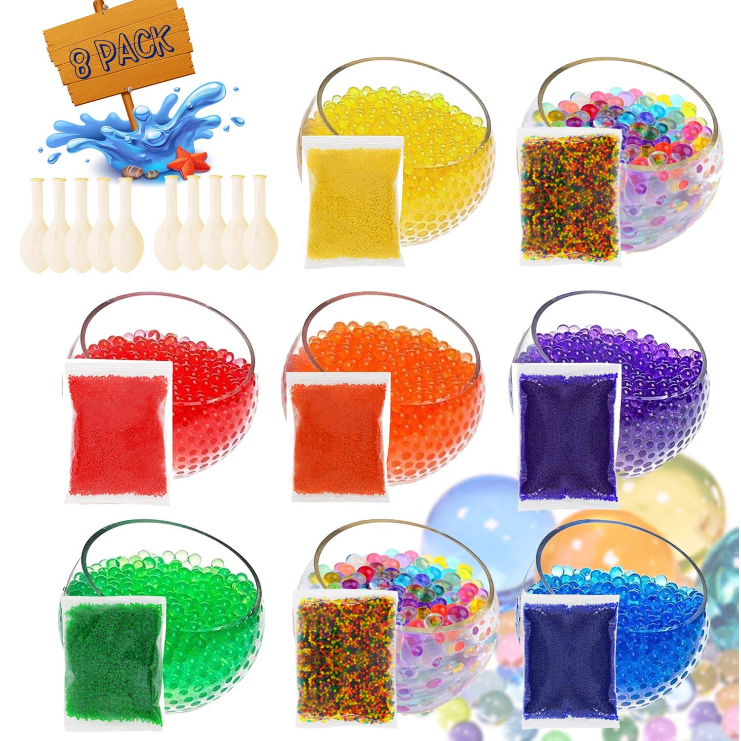 U-Goforst Water Beads Pack (80000 Small Beads/ 50 Giant Beads/10 DIY Stress Balloons) Spa Refill Sensory Kids Toys Growing Balls Orbies Ice Jelly Water Gel Bead Plants Vases and Decoration Maifei