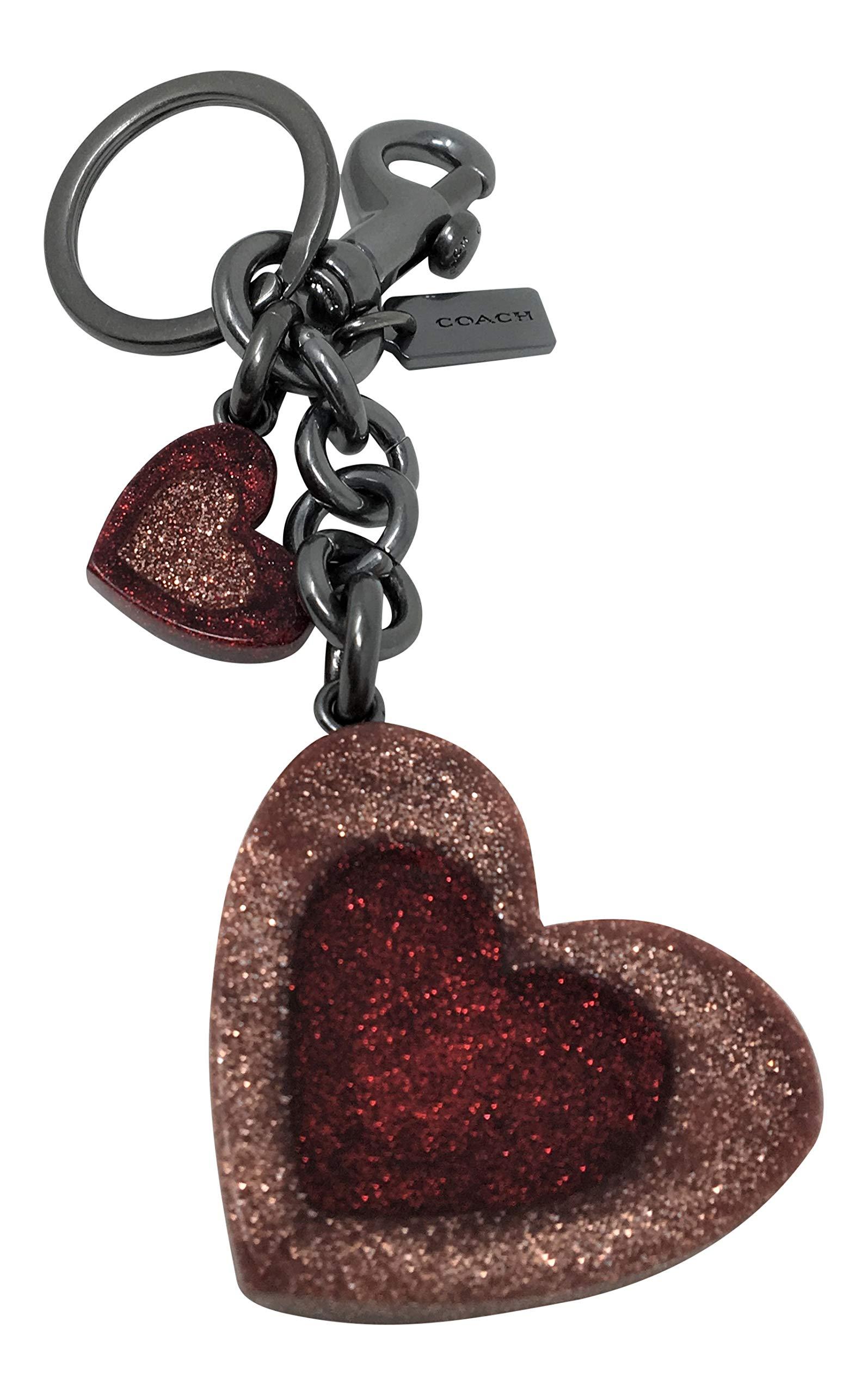 Coach Heart Mix Bag Charm F40683 Pink Black