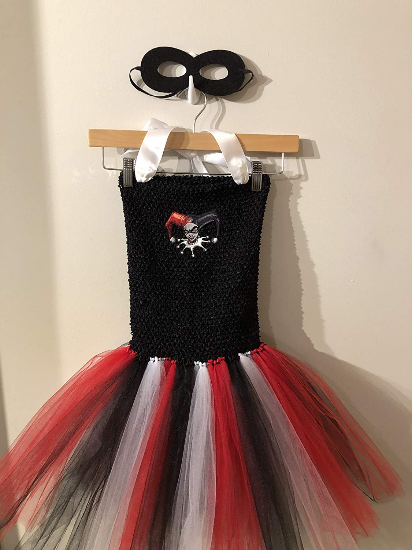 Amazon Com Dc Comics Harley Quinn Birds Of Prey Joker Girlfriend Puddin Tutu Dress Costume Kids 4t 7y Handmade