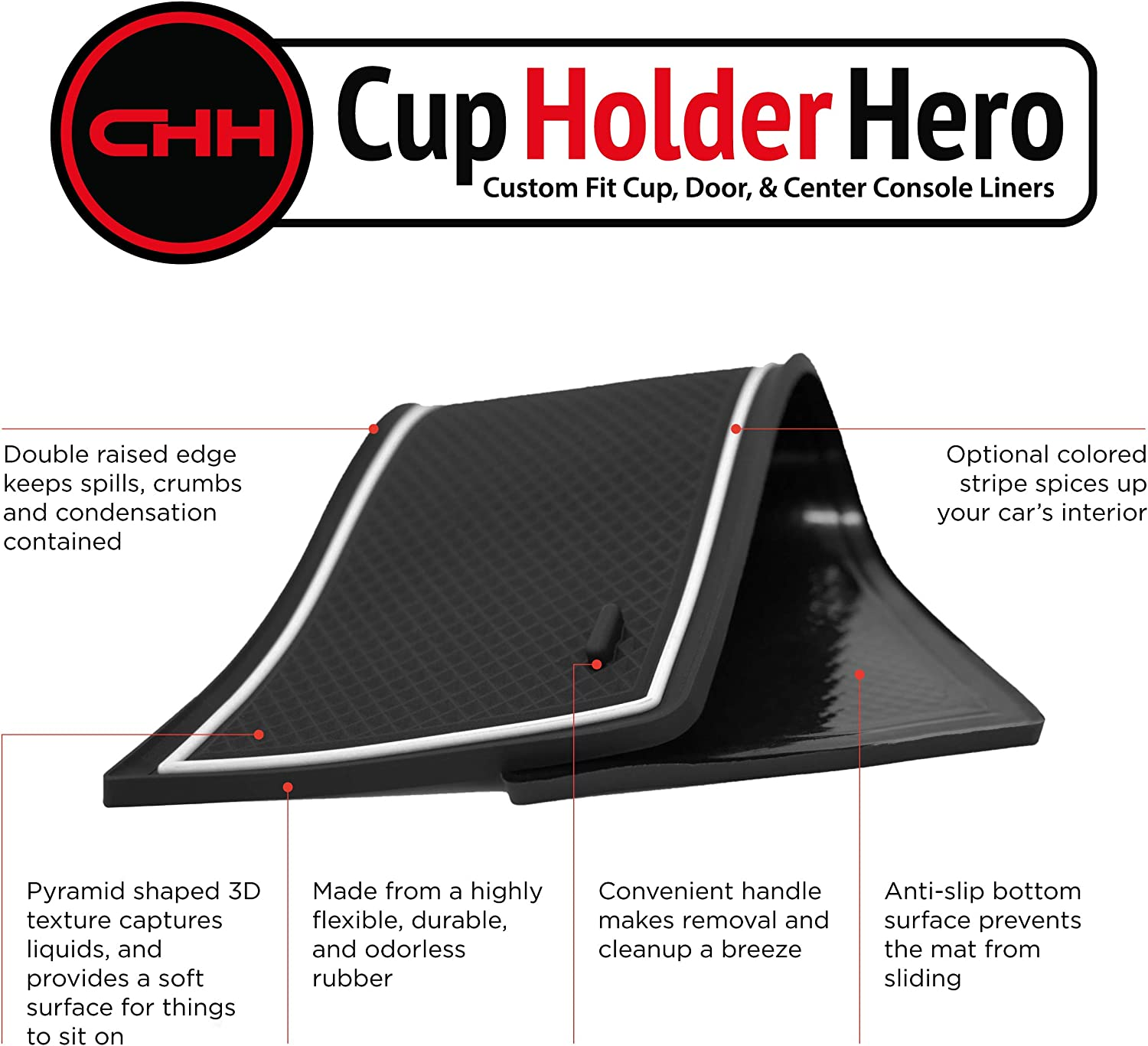 Custom Fit Cup and Console Liner Accessories for 2017-Present Honda Clarity Solid Black Door