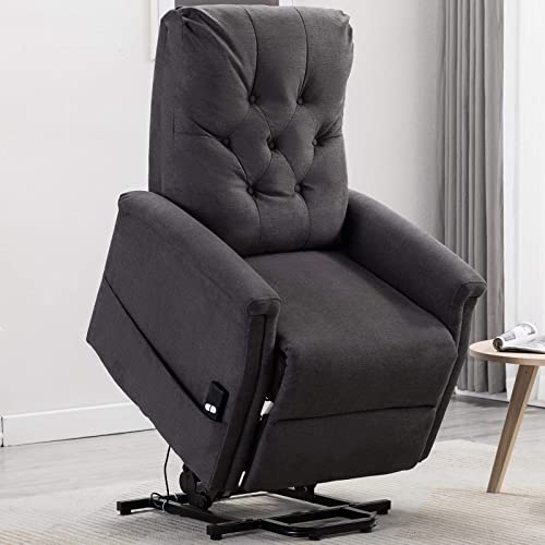 ANJ Power Lift Recliner Chair for Elderly, Heavy Duty Living Room Chair Single Sofa Seat with Remote Control Pocket, Smoke Grey
