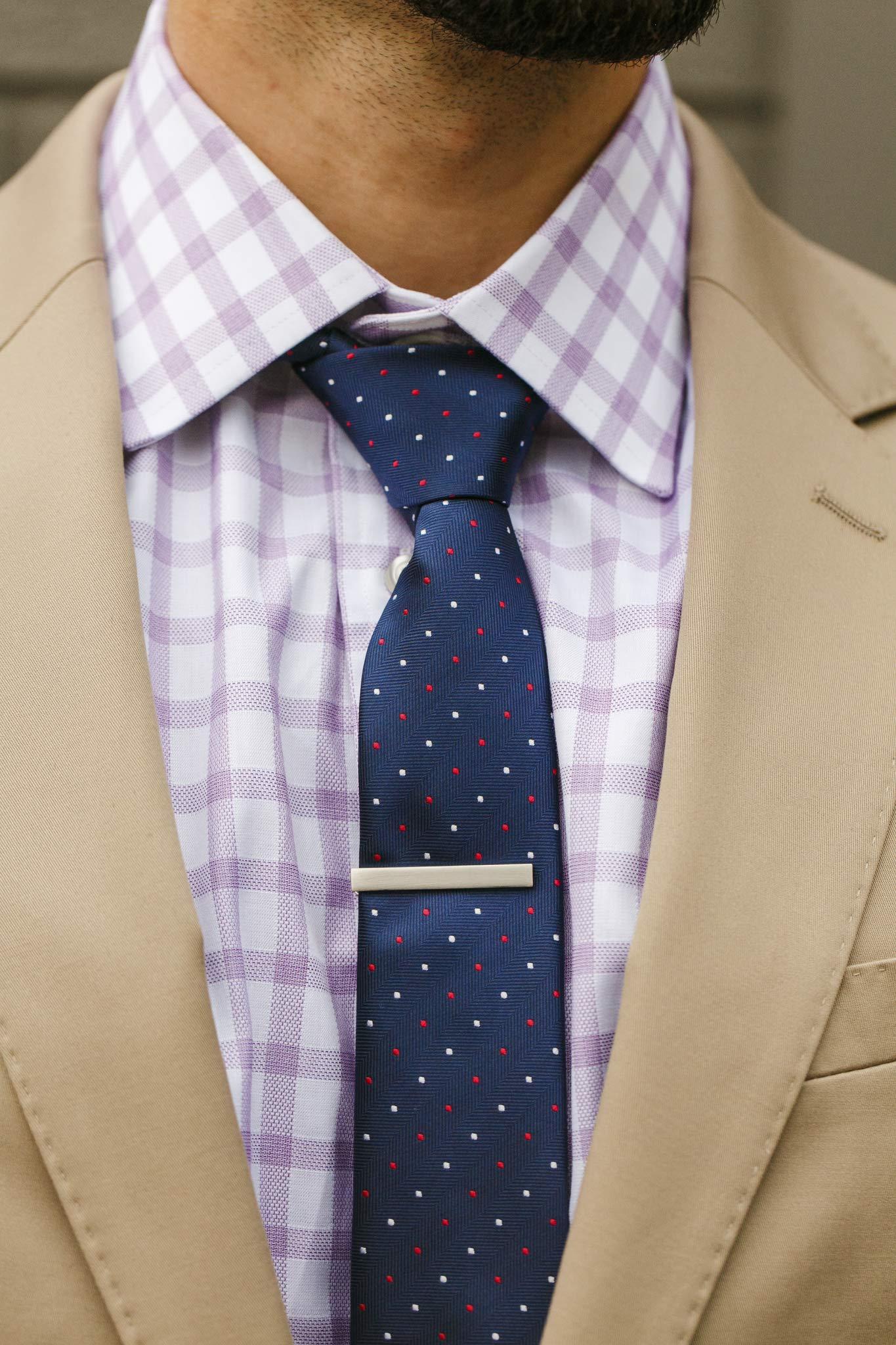 Cueva Bar 4.13 cm Tie Clip, Suiting Tie Clip, Great Gift for Men, Classic Style, Office Look, Wedding Business Necktie Clip, Silver Steel, Unique Design, Everyday Wear, Fashion Necktie Clip by Cueva (Image #5)