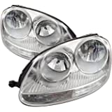 PERDE Chrome Housing Halogen Headlight Compatible with Volkswagen Jetta 2005-2010 Includes Left Driver and Right…