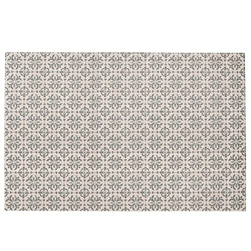 SHACOS Large Cotton Rug 4×6 ft Woven Cotton Area Rug for Living Room Kitchen Entryway Bedroom Machine Washable 4 x6 , Floral