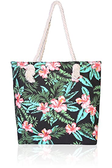 17190ba48303 Amazon.com  Basico Beach Tote Bag with Rope Handles (Aloha Flower)  Beauty