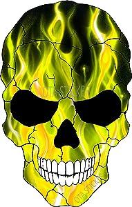 OTA STICKER Bumper Vinyl Skull Skeleton FIRE Gold Flame Ranger Decal Laptop Notebook Window Motorcycle Helmet Luggage Truck Water Bottle Cooler Scrapbook Tumbler Hard HAT Gift Halloween Awesome