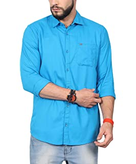0f3fc7c8cf4 NORTH REPUBLIC Men s Sea Blue Plain Matty Cotton Full Sleeves Stylish Casual  Shirt