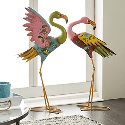 UMA Enterprises 55142 2-Piece Metal Decorative Flamingo Statue