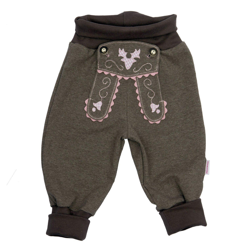 Bavariashop Baby Jogginghose Lederhosen Look Rosa 100/% Baumwolle Erstausstattung Size 86
