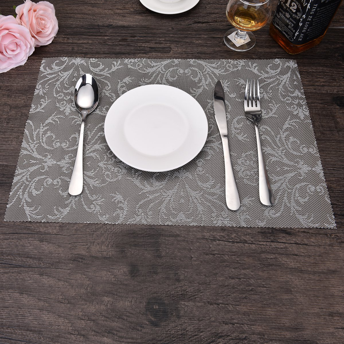 OZCHIN Placemats Dining Kitchen Table Non-slip Insulation Placemat Washable Table Mats Set of 4 Silver by OZCHIN (Image #5)