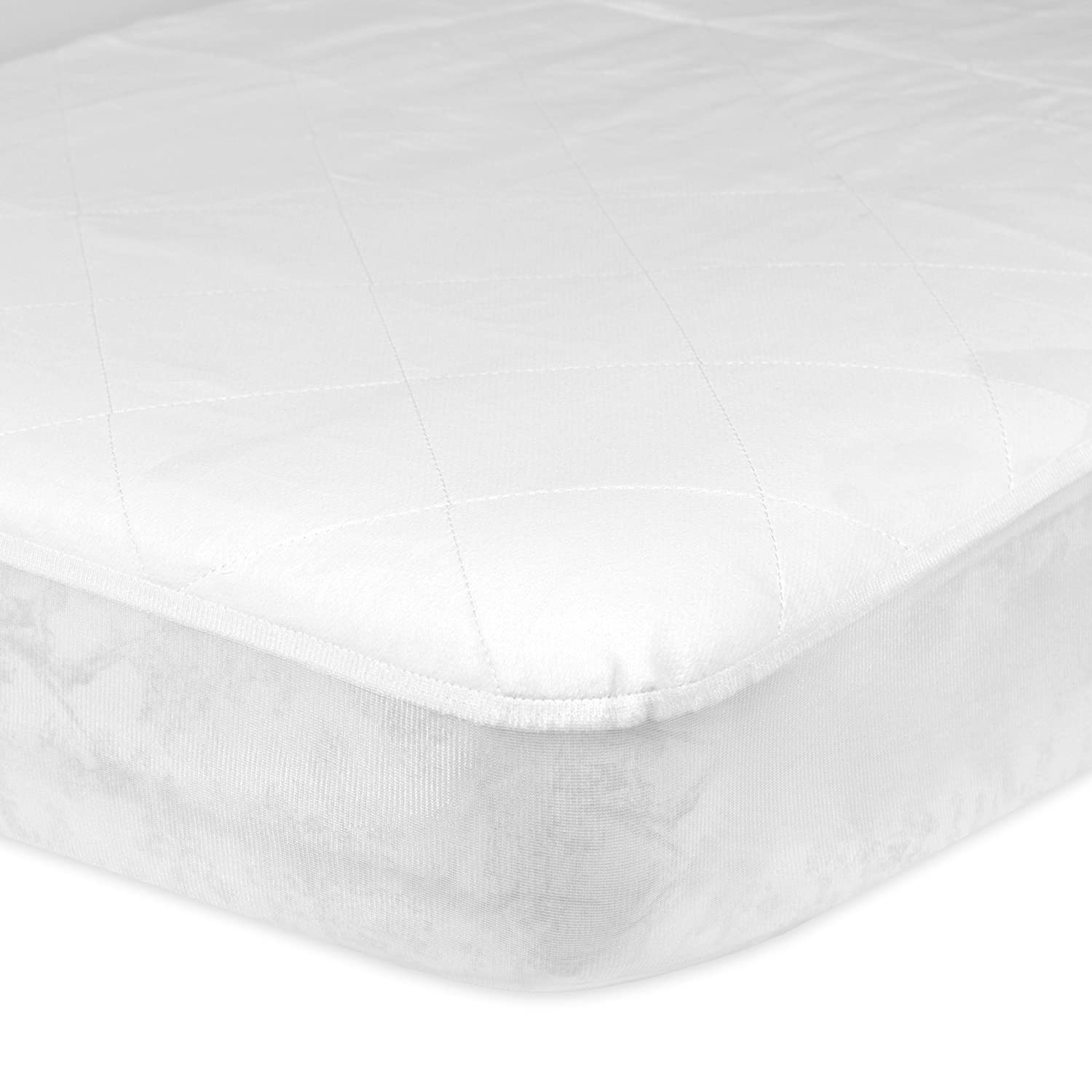 Gerber Quilted Fitted Crib Pad with Waterproof Barrier, White, 28 x 52 x 9 36315G