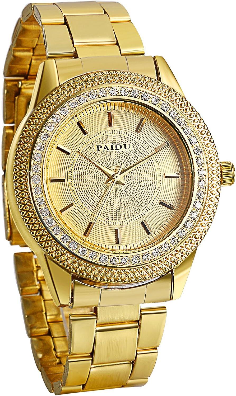 Avaner Reloj Dorado de Esfera Dorada Oro Dial con Diamantes de Imitación Brillantes, Grande Reloj de Caballero Cuarzo Japonés, Reloj de Hombre Acero Inoxidable Hip Hop Style