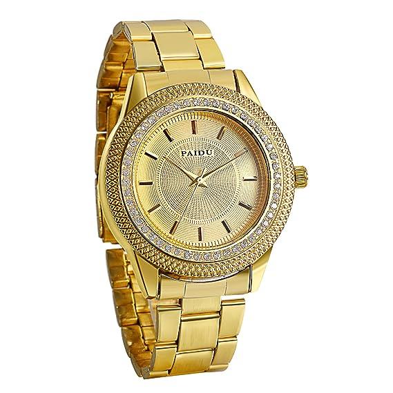 Avaner Reloj Dorado de Esfera Dorada Oro Dial Con Diamantes de Imitación Brillantes, Grande Reloj de Caballero Cuarzo Japonés, Reloj de Hombre Acero ...