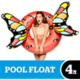 BigMouth Inc Butterfly Wings Pool Float, Pool Tube with Patch Kit Included (Red)