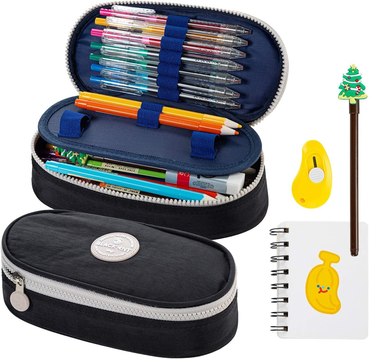 Pencil Case for Kids Large Capacity Pencil Pouch for Office College Adult Teen Student, Waterproof Pencil Box Set with Notebook, Utility Knife, Pen (Black)