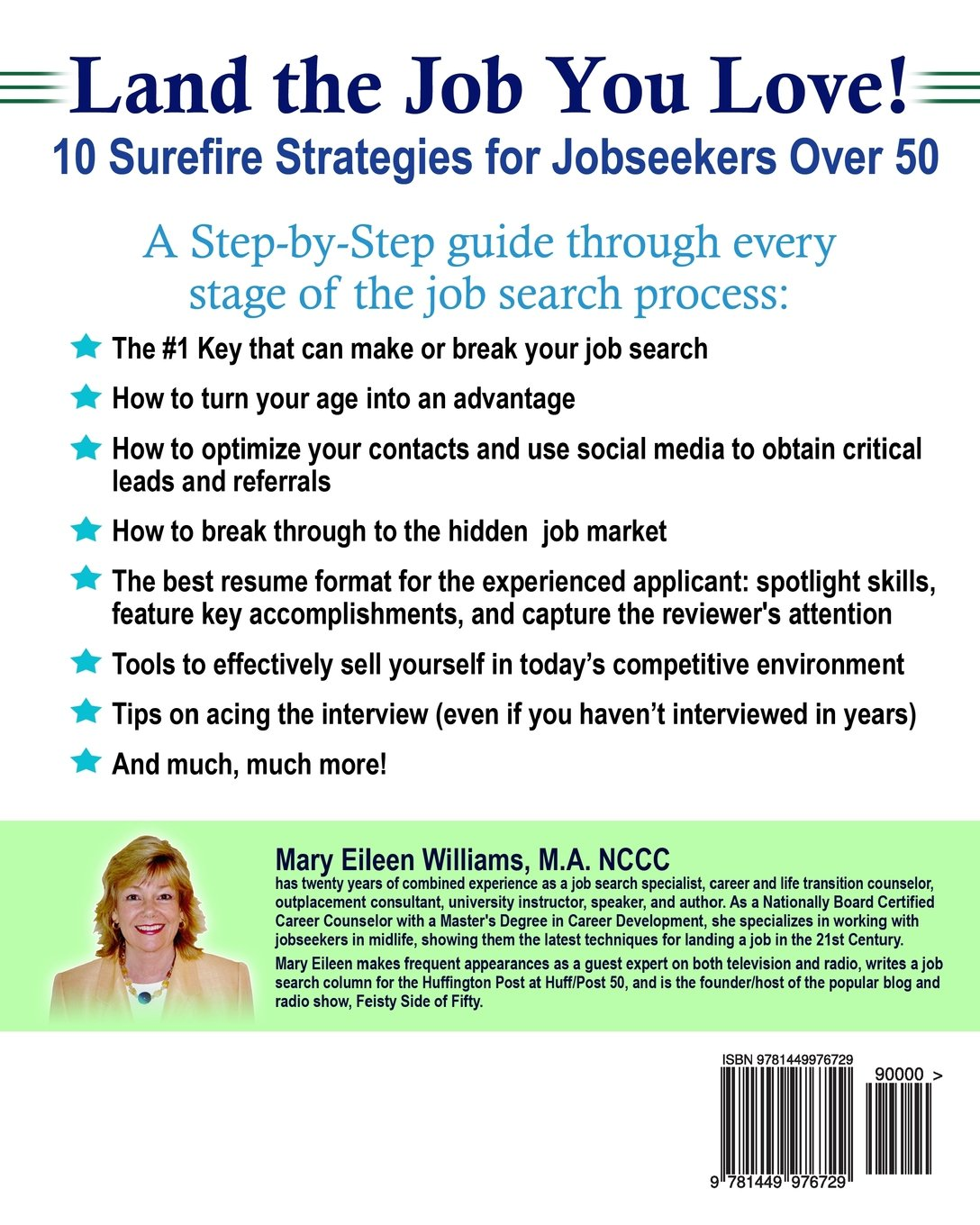 land the job you love 10 surefire strategies for jobseekers over land the job you love 10 surefire strategies for jobseekers over 50 mary eileen williams ma 9781449976729 amazon com books
