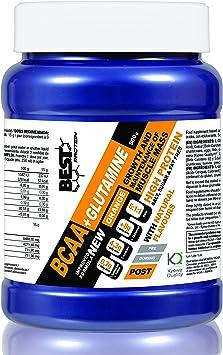 Best Protein BCAA + Glutamina. Aminoácidos Ramificados Ratio 6:1:1. Recuperación y Ganar Masa Muscular. Sabor Naranja. 500g