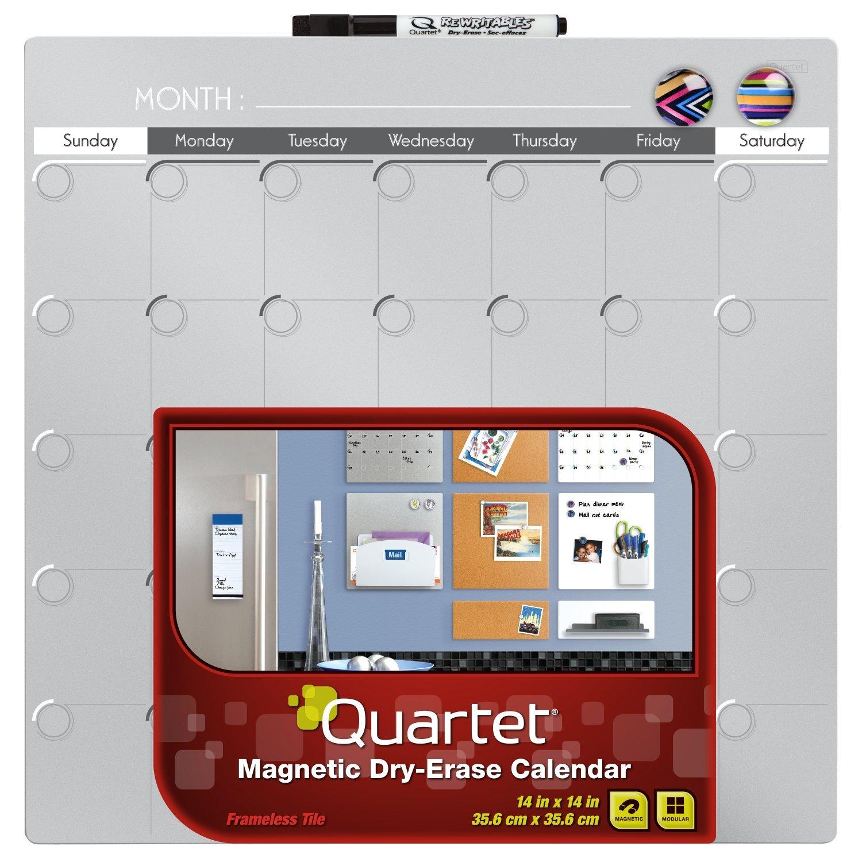 quartet magnetic dry erase calendar tile 14 x 14
