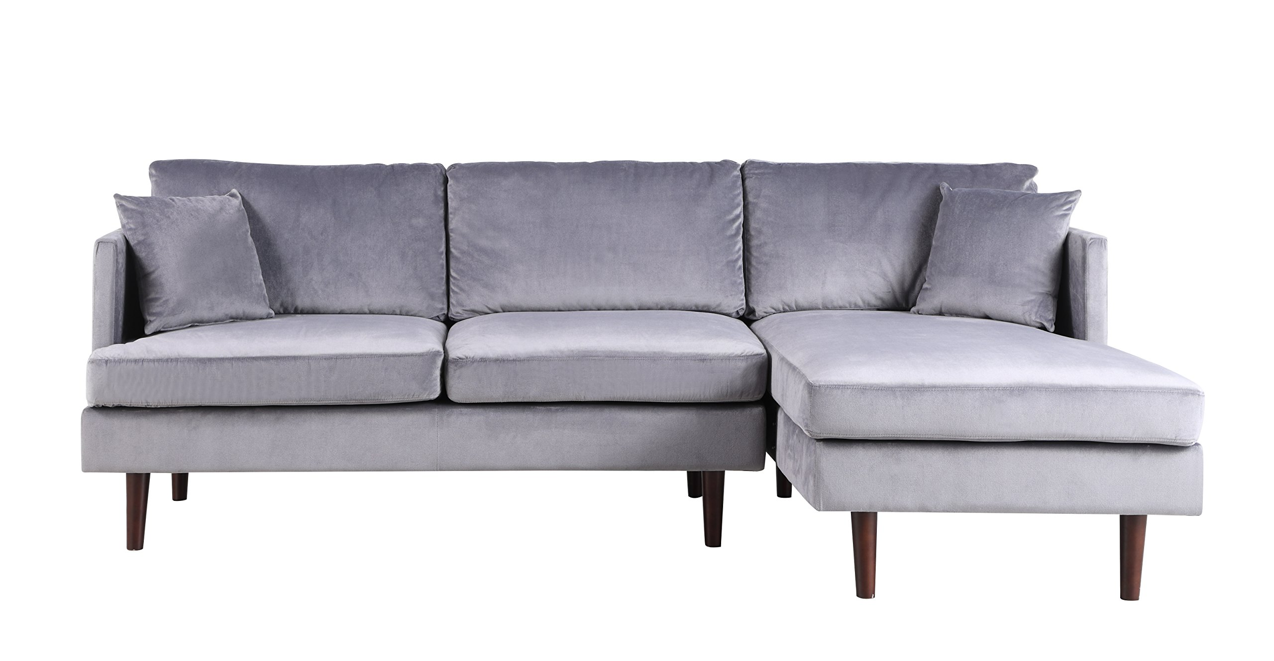 Sofamania Mid-Century Modern Brush Microfiber Sectional ...