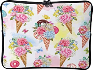 Laptop Sleeve Bag Notebook Computer PC Neoprene Protection Zipper Case Cover Watercolor Floral Ice Cream white-color12 17inch