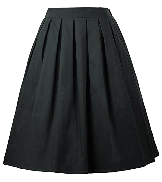 e091d9c7a7 GRACE KARIN Women's Elastic Waist Pleated Full Skirts (Small, Black ...