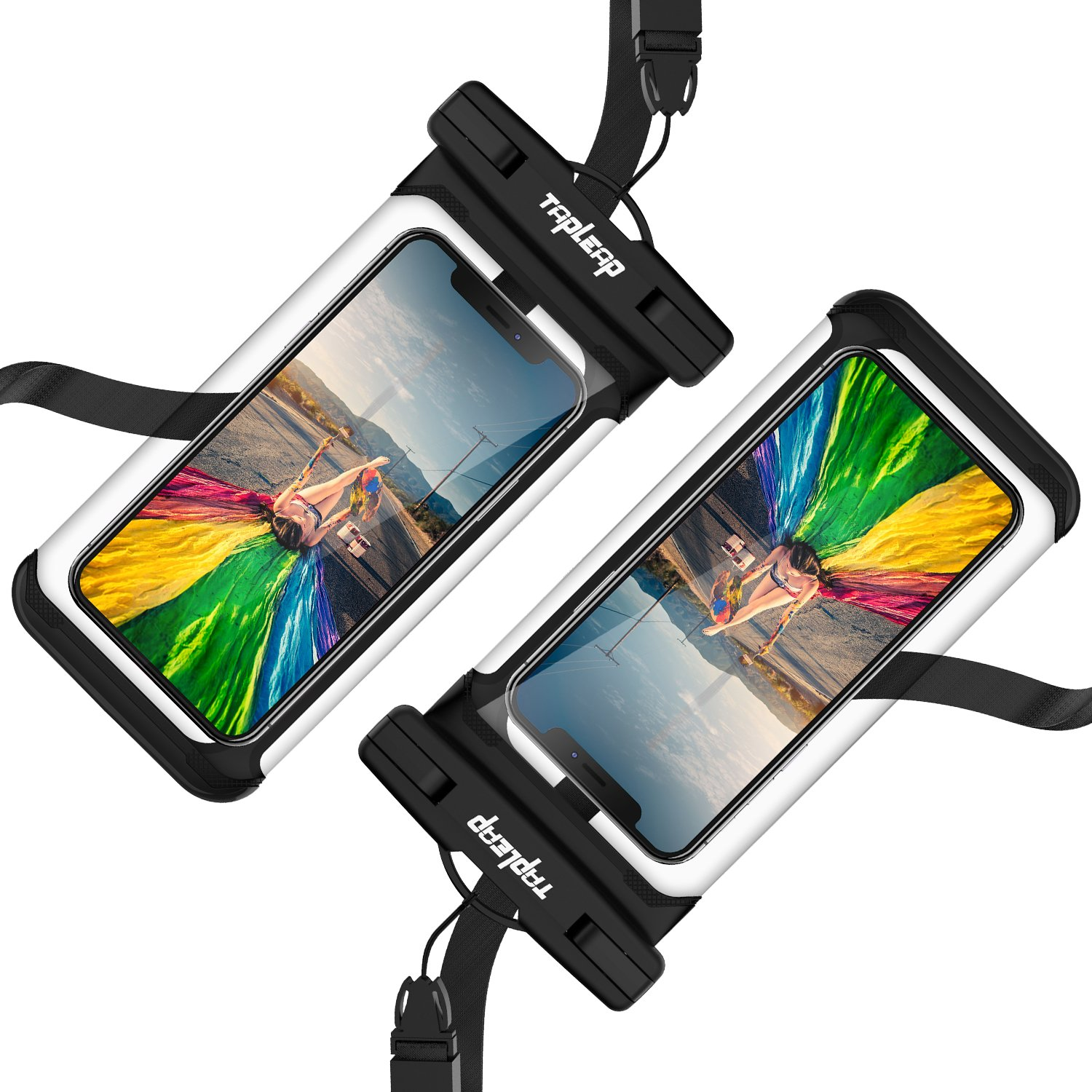 Tapleap Waterproof Cell Phone Pouch Case for Kayaking Cruise Snorkeling (2 Pcs) Universal Dry Bag for iPhone X/8/7/6s/6 (Plus), Samsung Galaxy S9/S9 Note 8, LG/Pixel/Moto, Smartphone up to 6.0''