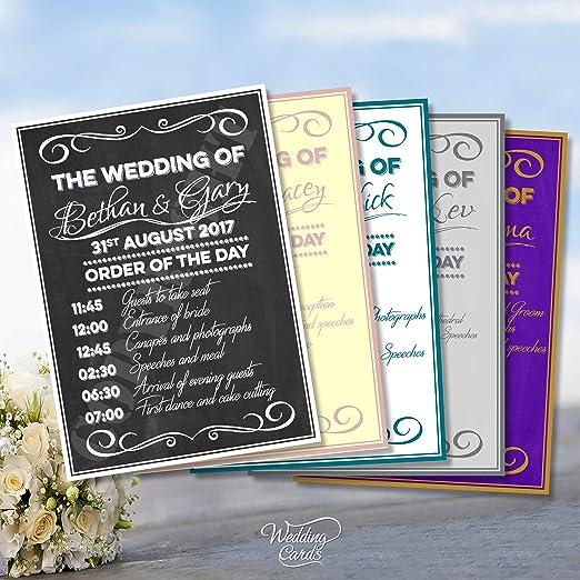 Ceremonia de la boda orden del Servicio de día cartel pizarra para ...