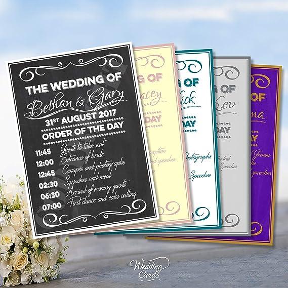 Ceremonia de la boda orden del Servicio de día cartel ...
