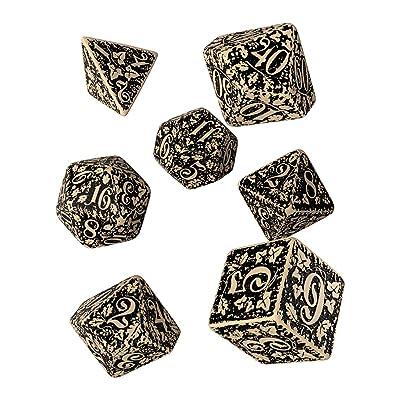 Q WORKSHOP Forest Engraved beige & black RPG ornamented Dice Set 7 polyhedral pieces: Toys & Games