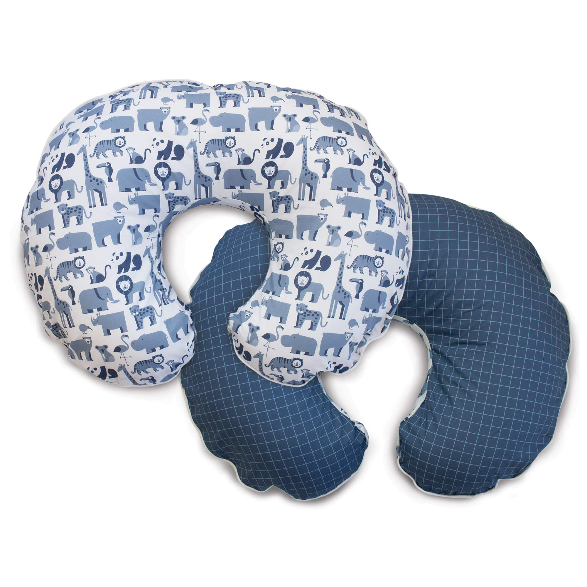 Boppy Premium Pillow Cover, Blue Zoo, Ultra-soft Microfiber Fabric in a fashionable two-sided design, Fits All Boppy Nursing Pillows and Positioners by Boppy