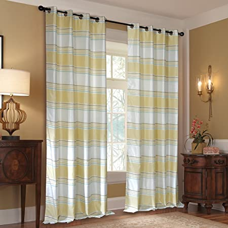 Deco Window Jigisha Polyester Door Curtain - 7.5 ft, Ivory and Light Lemon Curtains at amazon