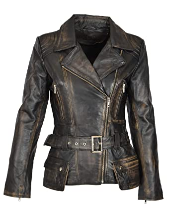 A1 FASHION GOODS Damen Biker Lederjacke SCHWARZ Vintage Abreiben Slim Fit Taille Gürtel Mantel Coco